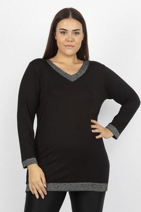 Şans Kadın Siyah Sim Detaylı Bluz 65N19613