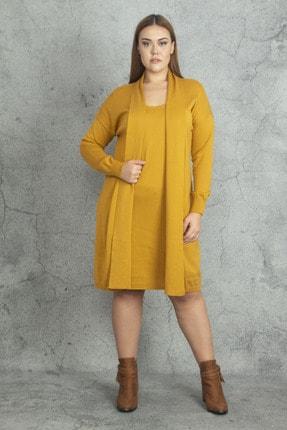 Şans Kadın Hardal Ön Kısmı Elbiseli Hırka 65N19811