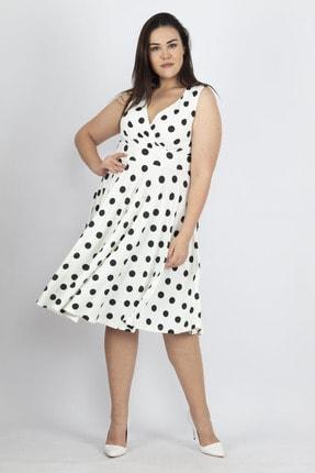 Şans Kadın Kemik Puan Desenli Anvelop Arka Bel Lastik Detaylı Elbise 65N19620
