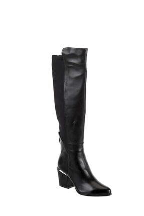 POLETTO Kadın Siyah Napa Strech Saten Çizme R9