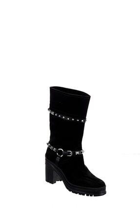 POLETTO Kadın Siyah Süet Çizme R33