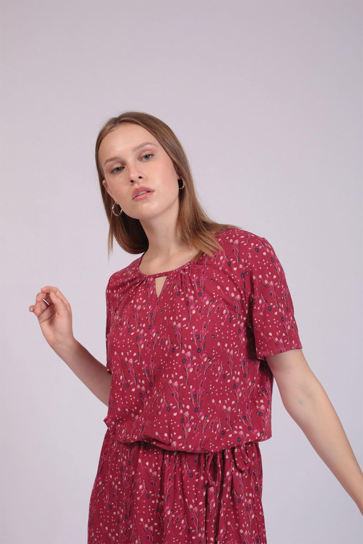 Hanna's Kadın Marun Çiçek Desenli Belden Bağlamalı Elbise  HN2758