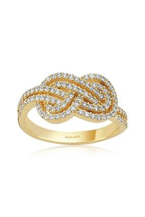 Valori Jewels Çift Sonsuzluk Bağı, Beyaz Zirkon Taşlı, Tasarım Altın Rengi Gümüş Yüzük