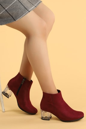 Ayakland 520 Şeffaf Süet 6 Cm Topuk Termo Taban Bayan Bot Ayakkabı