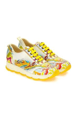 Goby Kadın Sarı Desenli Spor Ayakkabı
