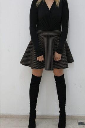 NK Kadın Kahverengi Mini Volan Etek