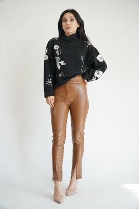 Lila Rose Kadın Taba Zımbalı Suni Deri Pantolon