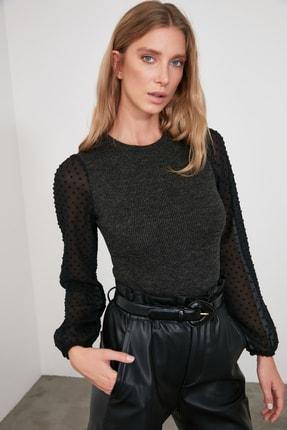 TrendyolMilla Siyah Tül Detaylı Örme Bluz TWOSS20BZ0105