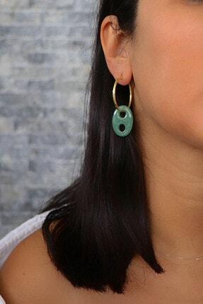 Lima Designers Koyu Yeşil Akik Halka Küpe