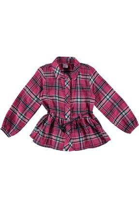 Timo Kız Çocuk Pembe Belden Kesik Büzgülü Gömlek