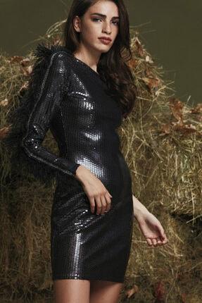 adL Kadın Siyah Tek Kol Mini Elbise