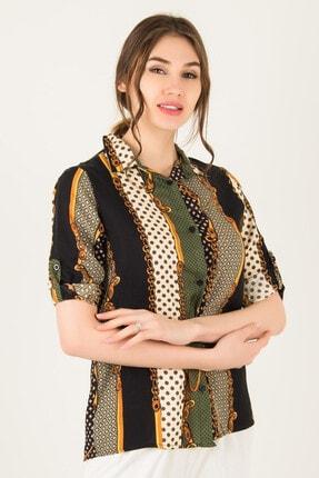 Morpile Kadın Haki Siyah Desenli Gömlek A1034