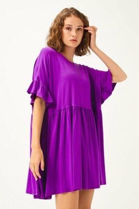 adL Kadın Mor Kolları Volanlı Elbise