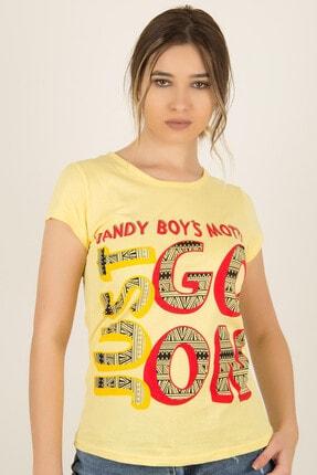 Morpile Kadın Sarı Baskılı T-Shirt 1177