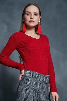 Morpile Kadın Kırmızı Merdiven Yaka Triko Kazak A1391