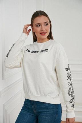 Morpile Kadın Beyaz Baskili Sweatshirt A1405