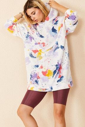 Morpile Kadın Sarı Desenli Oversize Kapüşonlu Sweatshirt