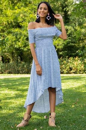 Morpile Kadın Mavi Bel Lastikli Elbise A1178