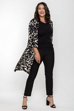 Seamoda Kadın Siyah Taş Desen 3/4 Kol Uzun Ceket