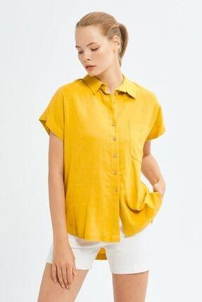 adL Kadın Sarı Erkek Yaka Gömlek