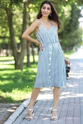 Nesrinden Kadın Mavi İp Askılı Desenli Elbise