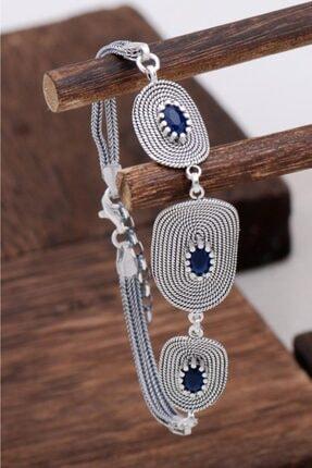 Sümer Telkari Kadın Safir Taşlı Tasarım Telkari Gümüş Bileklik 3129
