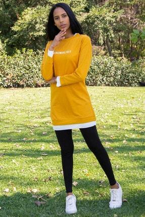 Morpile Kadın Hardal Çift Renkli Tunik A1342