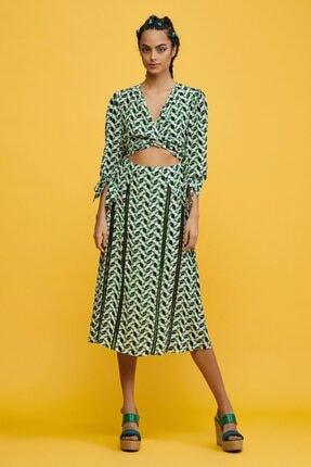 adL Kadın Yeşil Truvakar Kol Elbise 124C1698000209