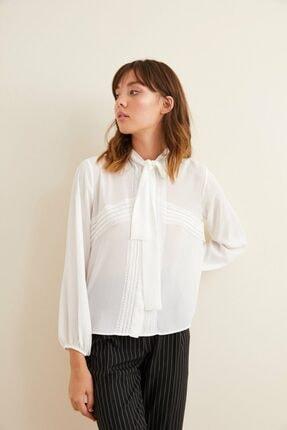 adL Kadın Kemik Dantel Detaylı Fularlı Gömlek