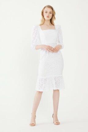 adL Kadın Beyaz Dantel Elbise 124C1702000002
