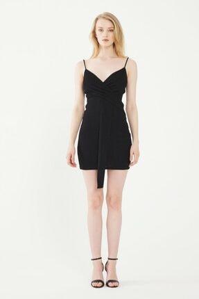 adL Kadın Siyah Askılı Mini Elbise 12438624000001