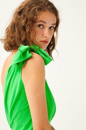 adL Kadın Yeşil Tek Omuz Drapeli Asimetrik Bluz