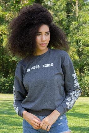 Morpile Kadın Antrasit Kol Detayli Sweatshirt A1206