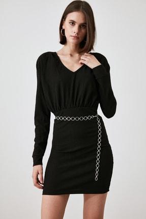 TrendyolMilla Siyah V Yaka Fitilli Örme Elbise TWOAW21EL2524