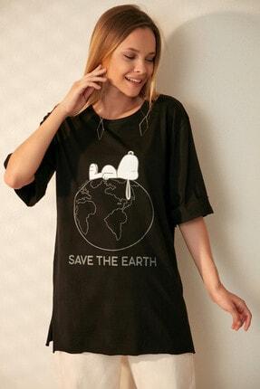 Morpile Kadın Siyah Yırtmaçlı T-Shirt