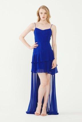 adL Kadın Saks Volanlı Şifon Elbise 12438652000022