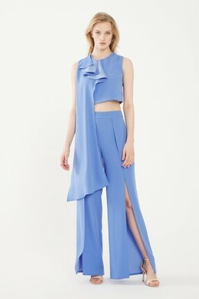 adL Kadın Mavi Yırtmaçlı Pantolon
