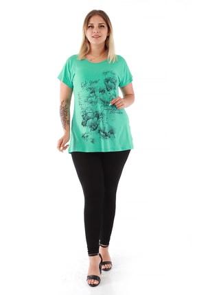 Kadın Yeşil Büyük Beden Kadın Baskılı Viscon Bluz DLRS 3416