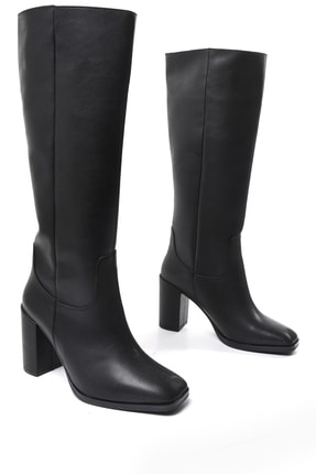 Sapin Kadın Siyah Topuklu Çizme 33708