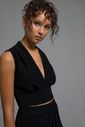 adL Kadın Siyah Simli Bluz 11537362001001