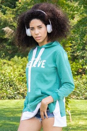 Morpile Kadın Yeşil Kapüşonlu Salaş Sweatshirt A1195
