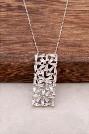Sümer Telkari Kadın Baget Kesim Zirkon Taşlı Gümüş Kolye 1031