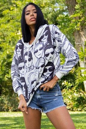 Morpile Kadın Ekru Kapüşonlu Baskılı Sweatshirt