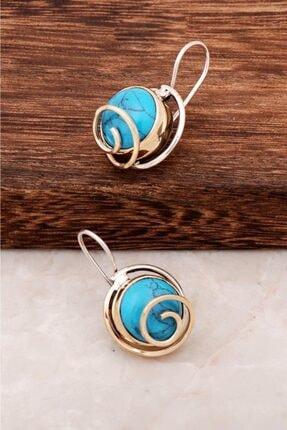 Sümer Telkari Kadın Firuze Taşlı Tasarım Gümüş Küpe 4401