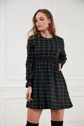 Morpile Kadın Siyah Ekose Desen Mini Elbise A1408