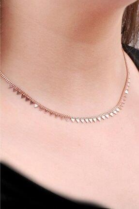 Sümer Telkari Kadın Choker Rose Gümüş Üçgen Tasarım Kolye 6467