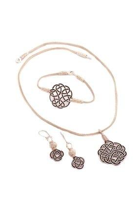 Sümer Telkari Kadın Aşk Düğümü Kazaziye El Sarması Gümüş Set 1409