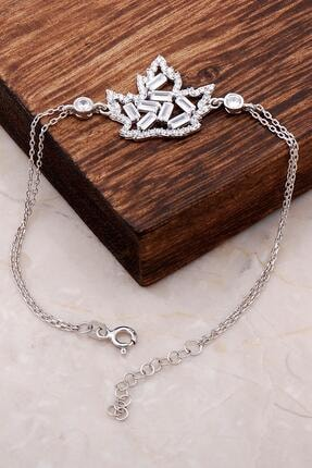 Sümer Telkari Kadın Çınar Ağacı Yaprağı Baget Taşlı Gümüş Bileklik 3389