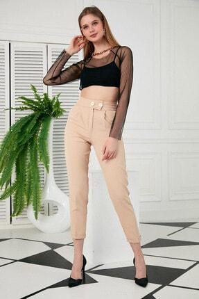 Morpile Kadın Krem Kumaş  Pantolon A1467