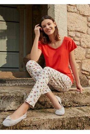 Eros Kadın Nar Çiçeği Desenli Pijama Takımı